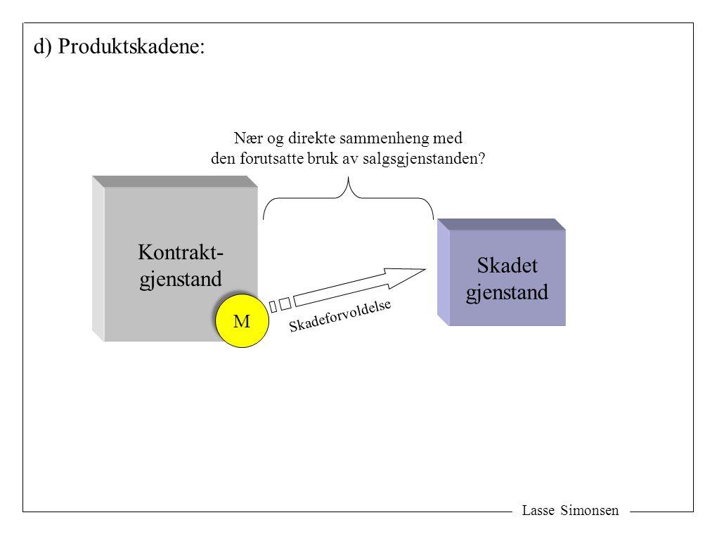 Lasse Simonsen d) Produktskadene: Skadet gjenstand Nær og direkte sammenheng med den forutsatte bruk av salgsgjenstanden.