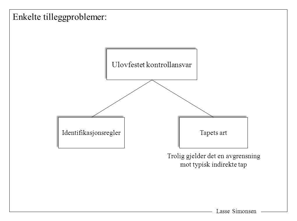 Lasse Simonsen Enkelte tilleggproblemer: Ulovfestet kontrollansvar Identifikasjonsregler Tapets art Trolig gjelder det en avgrensning mot typisk indirekte tap