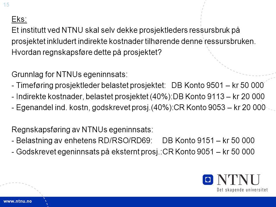 15 Eks: Et institutt ved NTNU skal selv dekke prosjektleders ressursbruk på prosjektet inkludert indirekte kostnader tilhørende denne ressursbruken. H