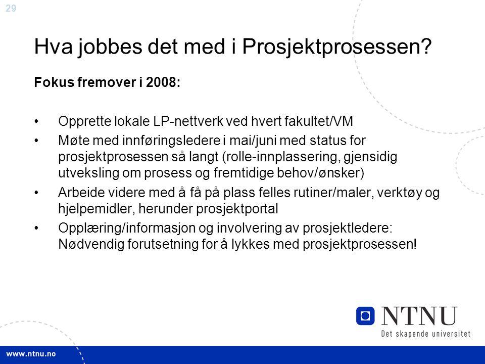 29 Hva jobbes det med i Prosjektprosessen? Fokus fremover i 2008: Opprette lokale LP-nettverk ved hvert fakultet/VM Møte med innføringsledere i mai/ju