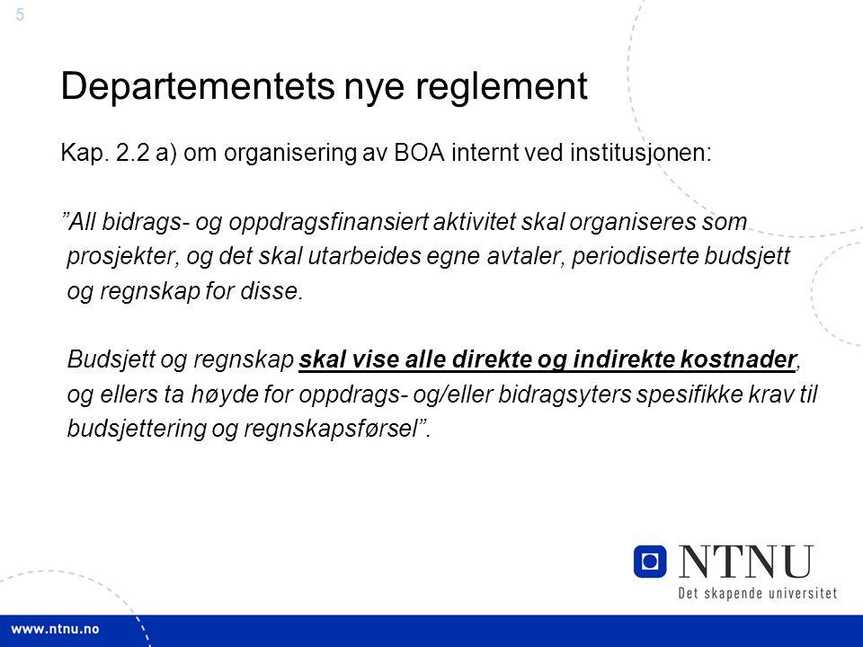 """55 Departementets nye reglement Kap. 2.2 a) om organisering av BOA internt ved institusjonen: """"All bidrags- og oppdragsfinansiert aktivitet skal organ"""