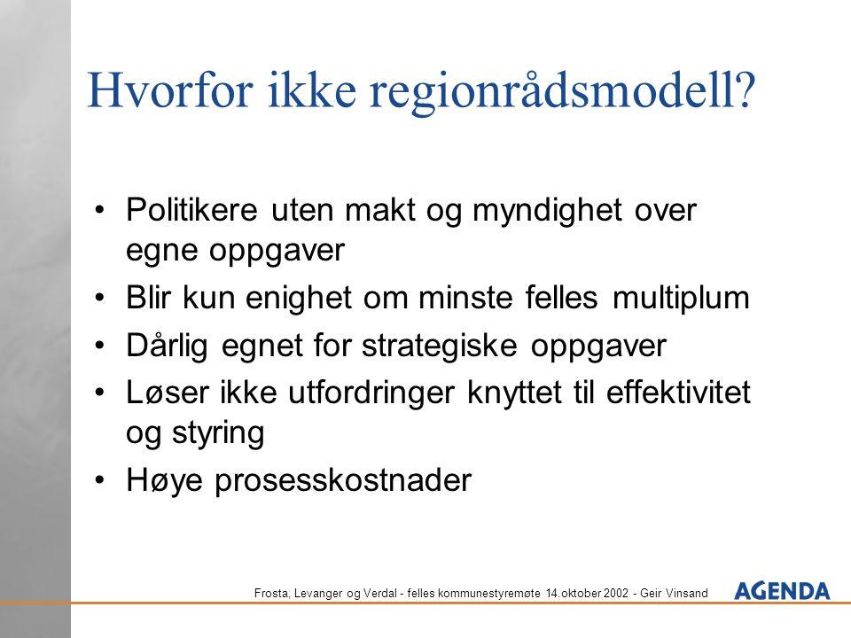 Frosta, Levanger og Verdal - felles kommunestyremøte 14.oktober 2002 - Geir Vinsand Hvorfor ikke regionrådsmodell? Politikere uten makt og myndighet o