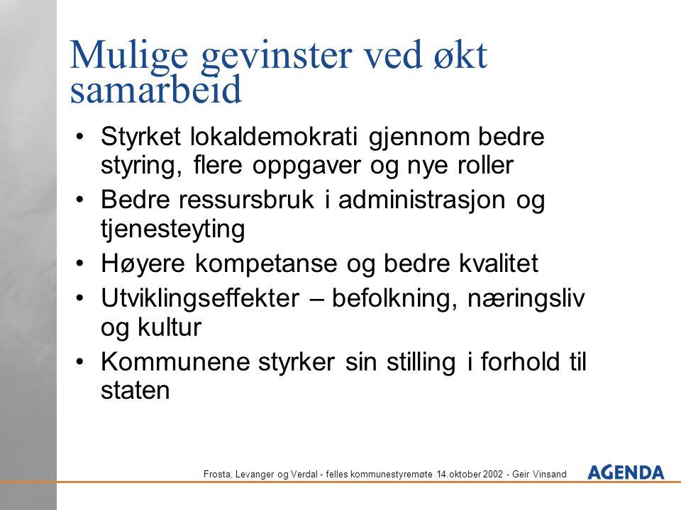 Frosta, Levanger og Verdal - felles kommunestyremøte 14.oktober 2002 - Geir Vinsand Mulige gevinster ved økt samarbeid Styrket lokaldemokrati gjennom