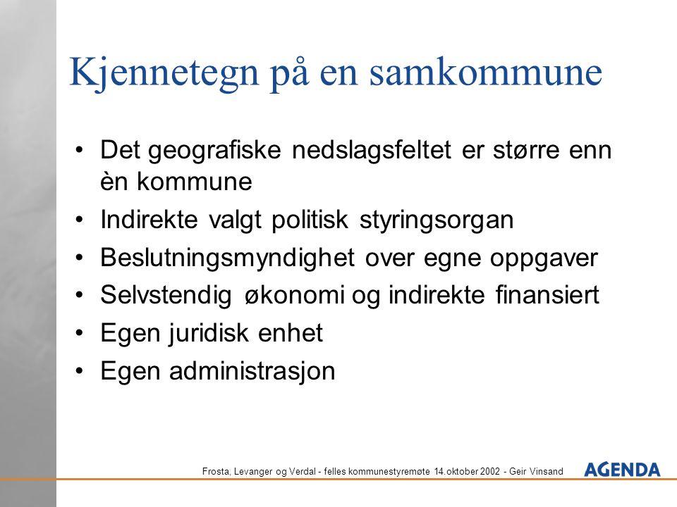 Frosta, Levanger og Verdal - felles kommunestyremøte 14.oktober 2002 - Geir Vinsand Kommunehistorikk og reformbilde Den gamle bølgen: fra særkommuner til enhetskommuner Den nye bølgen: fra enhetskommuner til differensiert forvaltning IKS: nasjonale fyrtårn Særkommune: Transport Samkommune: FLV Enhetsfylker Regionfylker