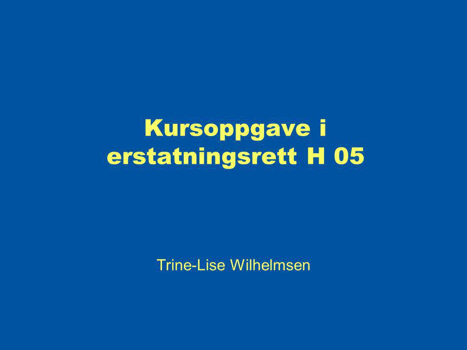 Kursoppgave i erstatningsrett H 05 Trine-Lise Wilhelmsen