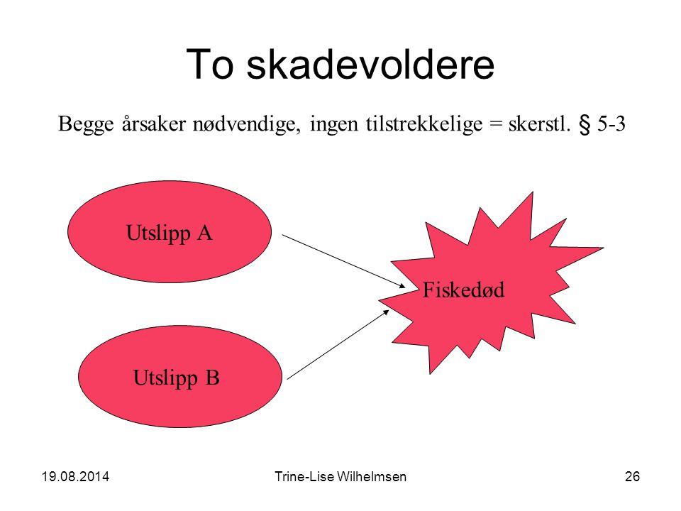 19.08.2014Trine-Lise Wilhelmsen26 To skadevoldere Fiskedød Utslipp B Utslipp A Begge årsaker nødvendige, ingen tilstrekkelige = skerstl.