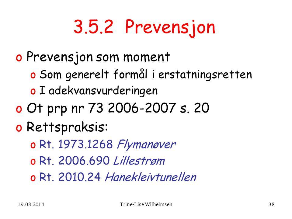 19.08.2014Trine-Lise Wilhelmsen38 3.5.2 Prevensjon oPrevensjon som moment oSom generelt formål i erstatningsretten oI adekvansvurderingen oOt prp nr 73 2006-2007 s.