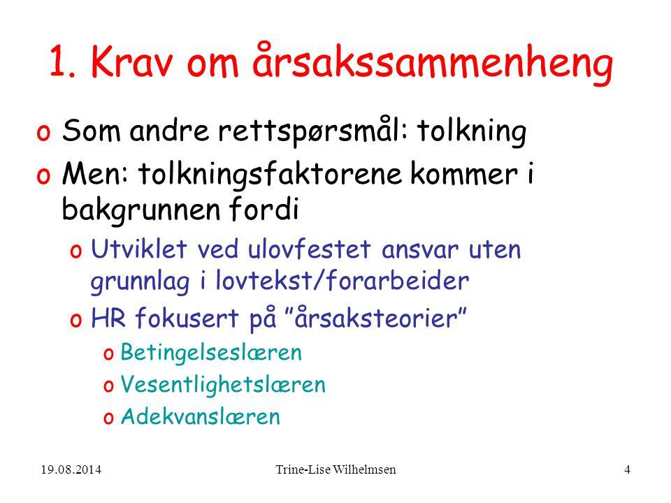 19.08.2014Trine-Lise Wilhelmsen55 Rt 2001.337 Ranheim helsetilstand 50 % Ikke ansvar utover de 250.000 som allerede var betalt av forsikringsselskapet 50 % Påkjørt % ?