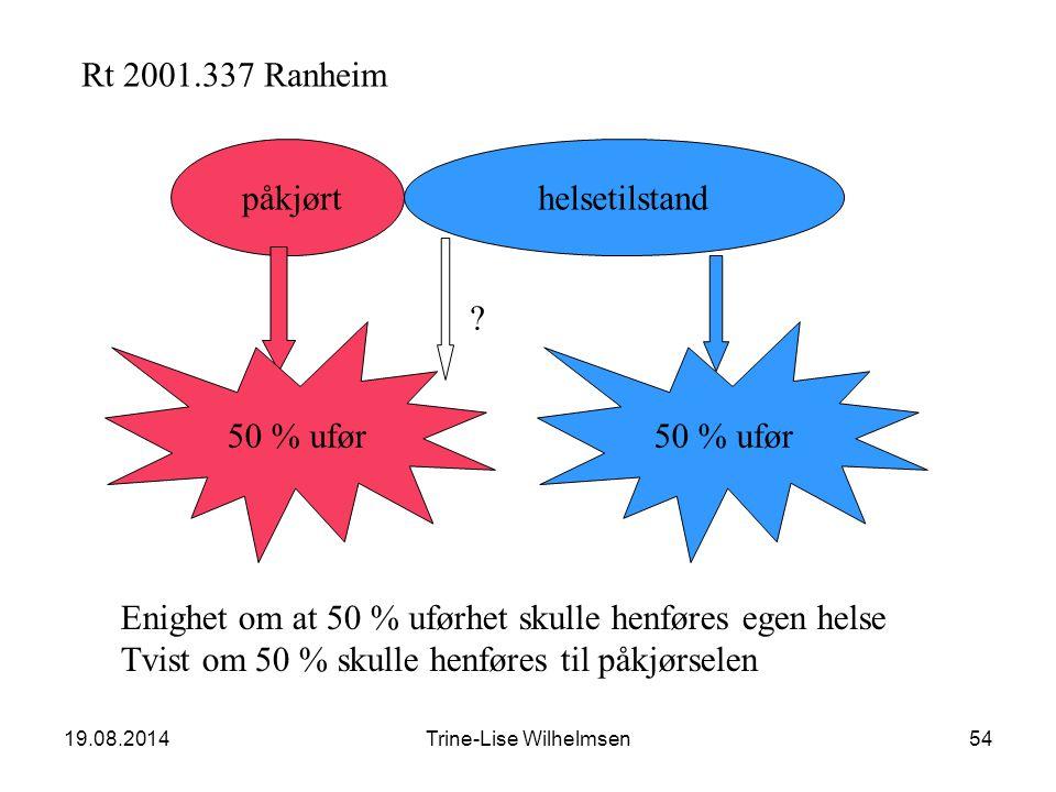 19.08.2014Trine-Lise Wilhelmsen54 Rt 2001.337 Ranheim påkjørt 50 % ufør helsetilstand 50 % ufør Enighet om at 50 % uførhet skulle henføres egen helse Tvist om 50 % skulle henføres til påkjørselen ?