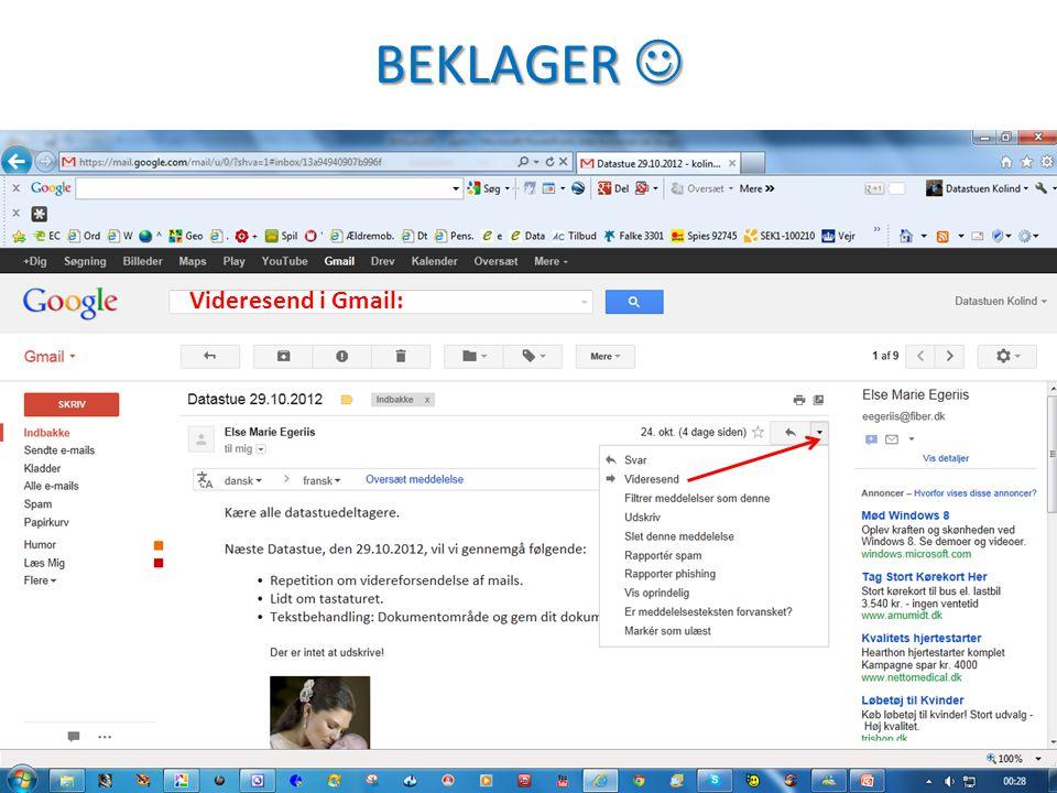 BEKLAGER BEKLAGER Videresend i Gmail: