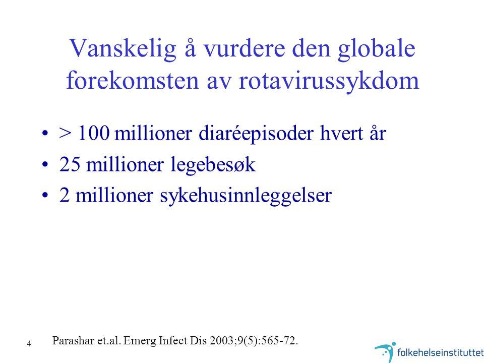 4 Vanskelig å vurdere den globale forekomsten av rotavirussykdom > 100 millioner diaréepisoder hvert år 25 millioner legebesøk 2 millioner sykehusinnl