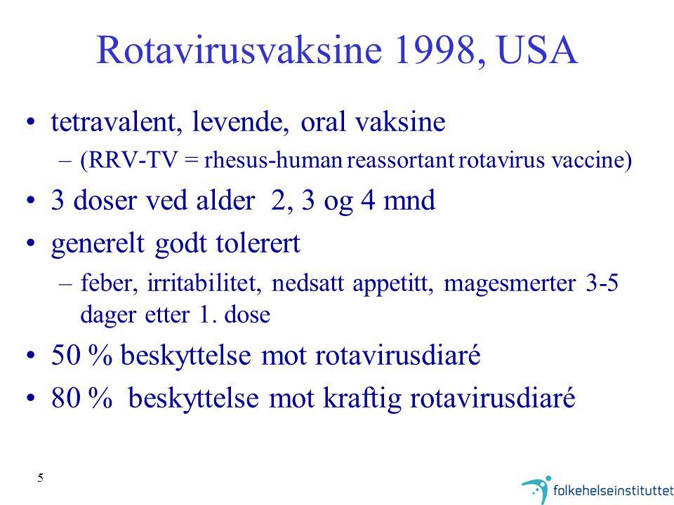 5 Rotavirusvaksine 1998, USA tetravalent, levende, oral vaksine –(RRV-TV = rhesus-human reassortant rotavirus vaccine) 3 doser ved alder 2, 3 og 4 mnd