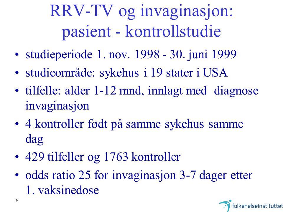 6 RRV-TV og invaginasjon: pasient - kontrollstudie studieperiode 1. nov. 1998 - 30. juni 1999 studieområde: sykehus i 19 stater i USA tilfelle: alder