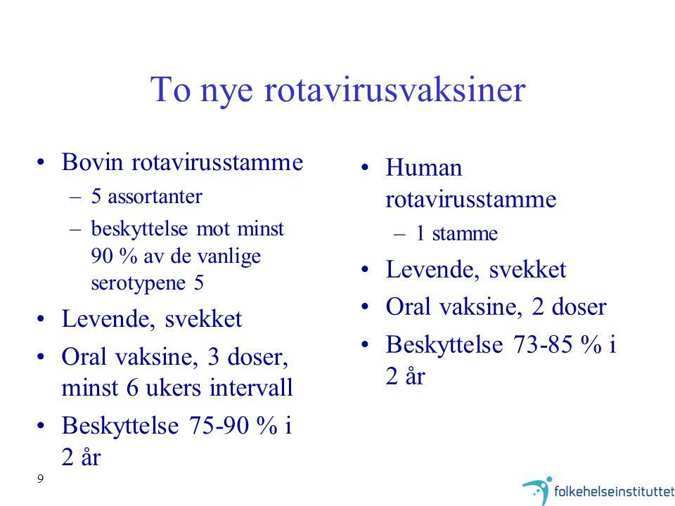 9 To nye rotavirusvaksiner Bovin rotavirusstamme –5 assortanter –beskyttelse mot minst 90 % av de vanlige serotypene 5 Levende, svekket Oral vaksine,