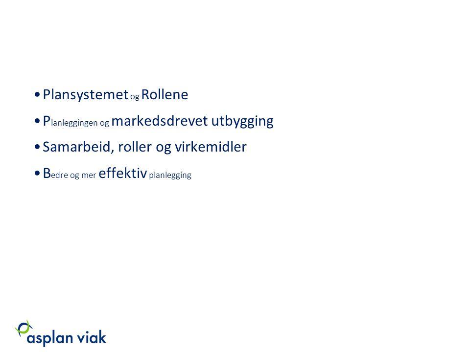 Plansystemet og Rollene P lanleggingen og markedsdrevet utbygging Samarbeid, roller og virkemidler B edre og mer effektiv planlegging