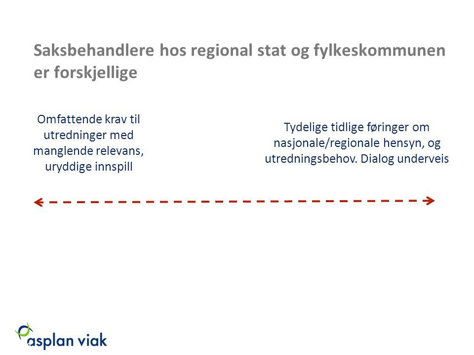 Saksbehandlere hos regional stat og fylkeskommunen er forskjellige Tydelige tidlige føringer om nasjonale/regionale hensyn, og utredningsbehov. Dialog