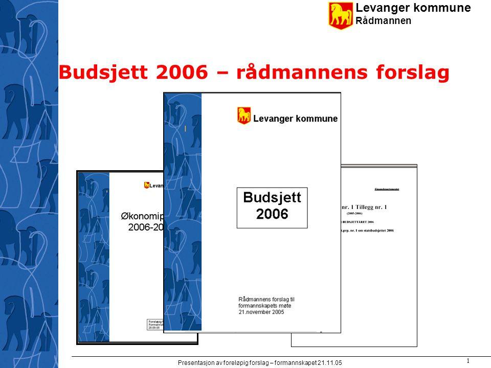 Levanger kommune Rådmannen Presentasjon av foreløpig forslag – formannskapet 21.11.05 1 Budsjett 2006 – rådmannens forslag