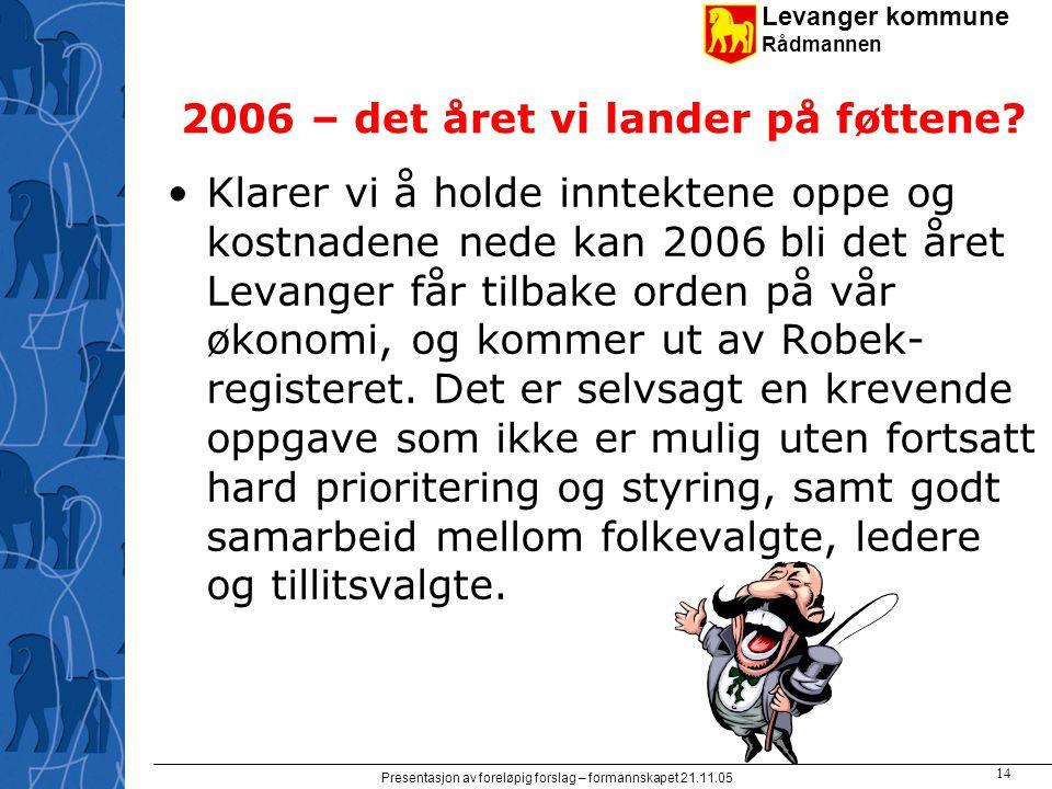Levanger kommune Rådmannen Presentasjon av foreløpig forslag – formannskapet 21.11.05 14 2006 – det året vi lander på føttene? Klarer vi å holde innte
