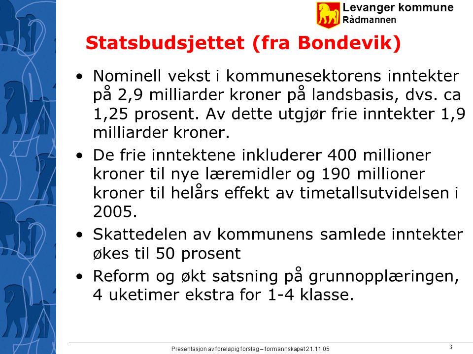 Levanger kommune Rådmannen Presentasjon av foreløpig forslag – formannskapet 21.11.05 3 Statsbudsjettet (fra Bondevik) Nominell vekst i kommunesektore