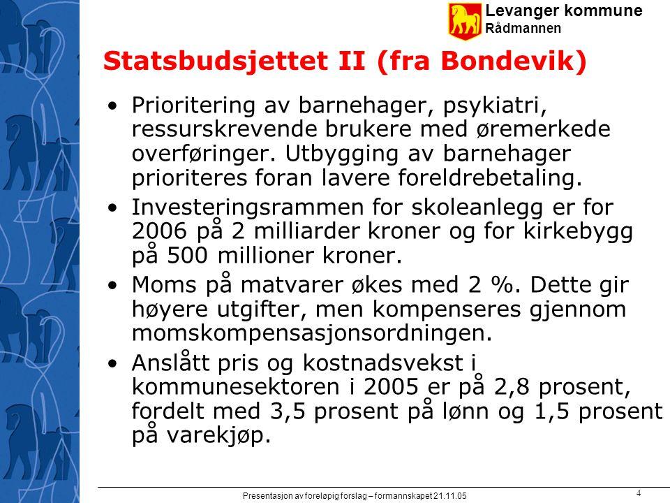 Levanger kommune Rådmannen Presentasjon av foreløpig forslag – formannskapet 21.11.05 4 Statsbudsjettet II (fra Bondevik) Prioritering av barnehager,