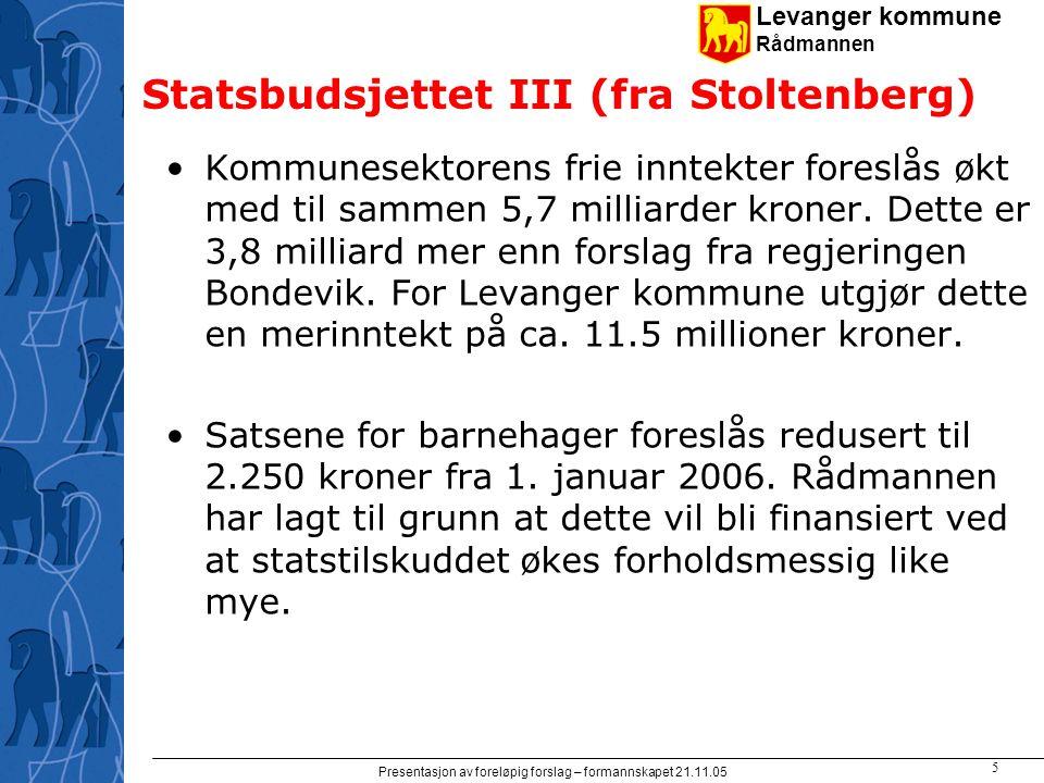 Levanger kommune Rådmannen Presentasjon av foreløpig forslag – formannskapet 21.11.05 5 Statsbudsjettet III (fra Stoltenberg) Kommunesektorens frie in