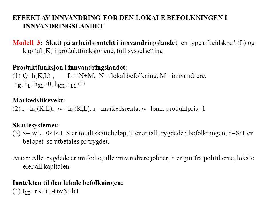 EFFEKT AV INNVANDRING FOR DEN LOKALE BEFOLKNINGEN I INNVANDRINGSLANDET Modell 3: Skatt på arbeidsinntekt i innvandringslandet, en type arbeidskraft (L