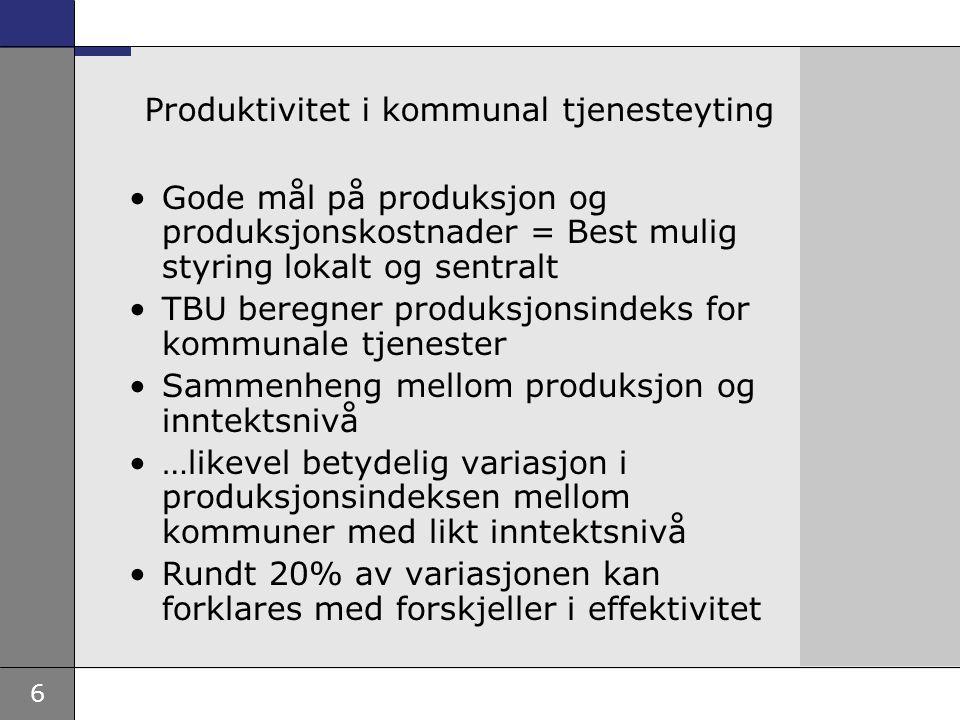 6 Produktivitet i kommunal tjenesteyting Gode mål på produksjon og produksjonskostnader = Best mulig styring lokalt og sentralt TBU beregner produksjonsindeks for kommunale tjenester Sammenheng mellom produksjon og inntektsnivå …likevel betydelig variasjon i produksjonsindeksen mellom kommuner med likt inntektsnivå Rundt 20% av variasjonen kan forklares med forskjeller i effektivitet