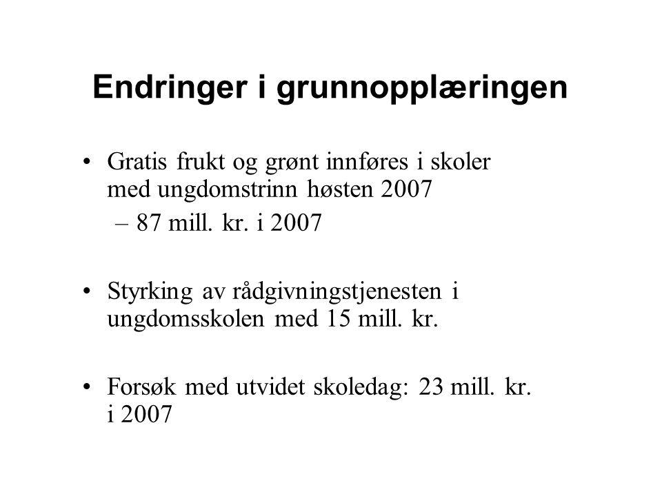 Endringer i grunnopplæringen Gratis frukt og grønt innføres i skoler med ungdomstrinn høsten 2007 –87 mill. kr. i 2007 Styrking av rådgivningstjeneste