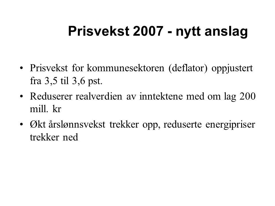 Prisvekst 2007 - nytt anslag Prisvekst for kommunesektoren (deflator) oppjustert fra 3,5 til 3,6 pst. Reduserer realverdien av inntektene med om lag 2