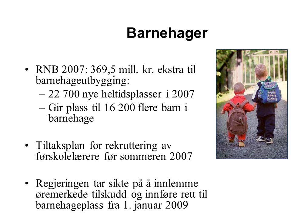 Barnehager RNB 2007: 369,5 mill. kr. ekstra til barnehageutbygging: –22 700 nye heltidsplasser i 2007 –Gir plass til 16 200 flere barn i barnehage Til
