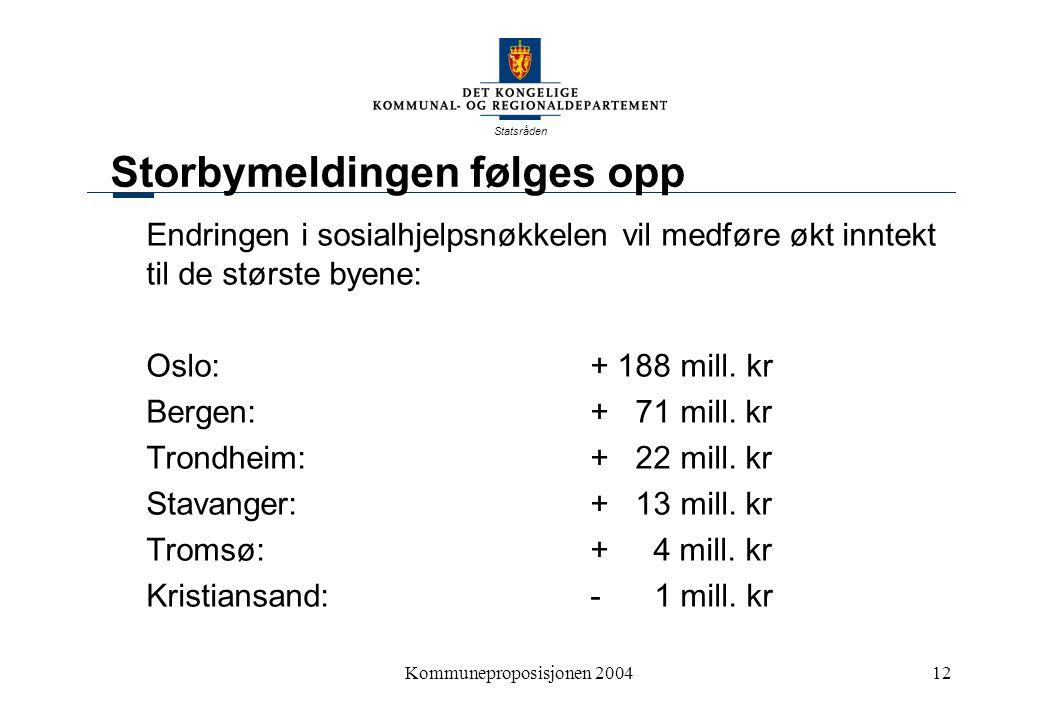 Statsråden Kommuneproposisjonen 200412 Storbymeldingen følges opp Endringen i sosialhjelpsnøkkelen vil medføre økt inntekt til de største byene: Oslo: + 188 mill.
