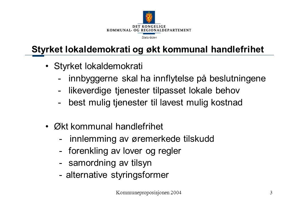 Statsråden Kommuneproposisjonen 200414 Eksempler fra noen landbrukskommuner KommuneGevinst 1000 krkr pr.