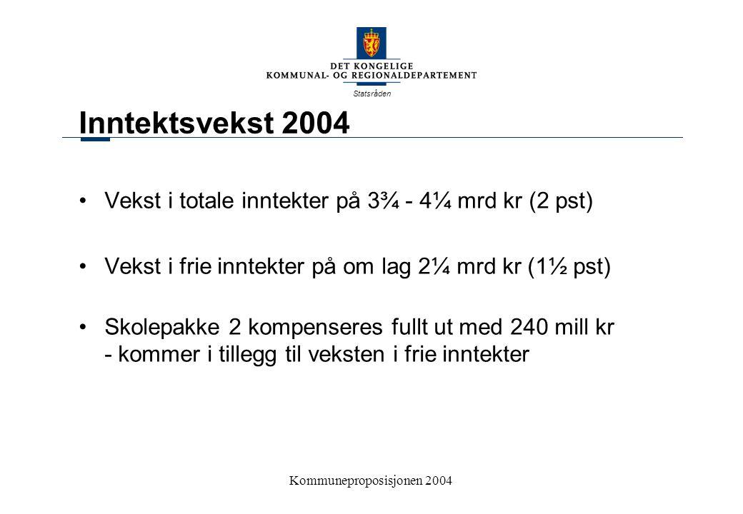 Statsråden Kommuneproposisjonen 200416 Differensiert arbeidsgiveravgift Gradvis omlegging av ordningen i perioden 2004-2007 Medfører økte kostnader for kommunesektoren på om lag 2,1 mrd.