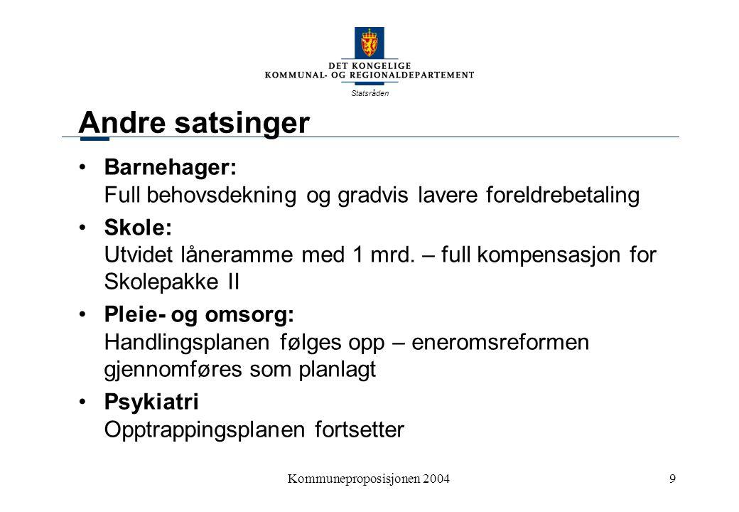 Statsråden Kommuneproposisjonen 20049 Andre satsinger Barnehager: Full behovsdekning og gradvis lavere foreldrebetaling Skole: Utvidet låneramme med 1 mrd.