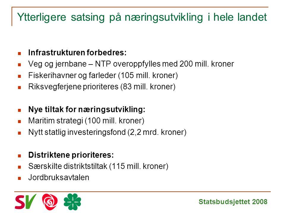 Statsbudsjettet 2008 Ytterligere satsing på næringsutvikling i hele landet Infrastrukturen forbedres: Veg og jernbane – NTP overoppfylles med 200 mill.