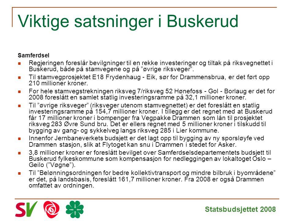 Statsbudsjettet 2008 Viktige satsninger i Buskerud Samferdsel Regjeringen foreslår bevilgninger til en rekke investeringer og tiltak på riksvegnettet i Buskerud, både på stamvegene og på øvrige riksveger .