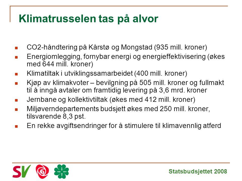 Statsbudsjettet 2008 Klimatrusselen tas på alvor CO2-håndtering på Kårstø og Mongstad (935 mill.