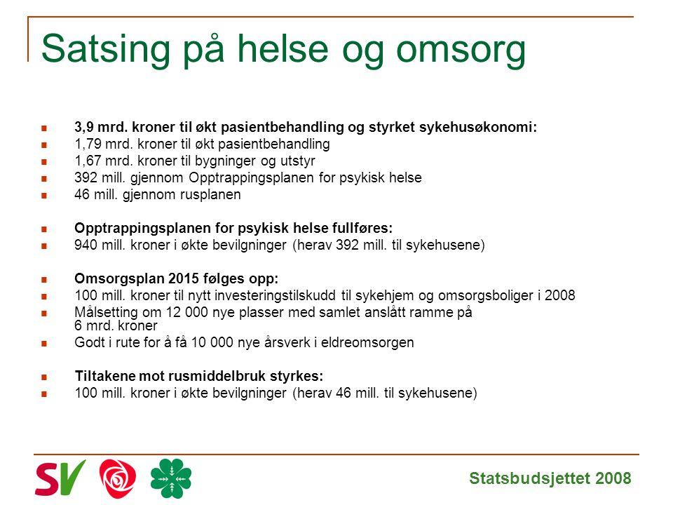 Statsbudsjettet 2008 Satsing på helse og omsorg 3,9 mrd.