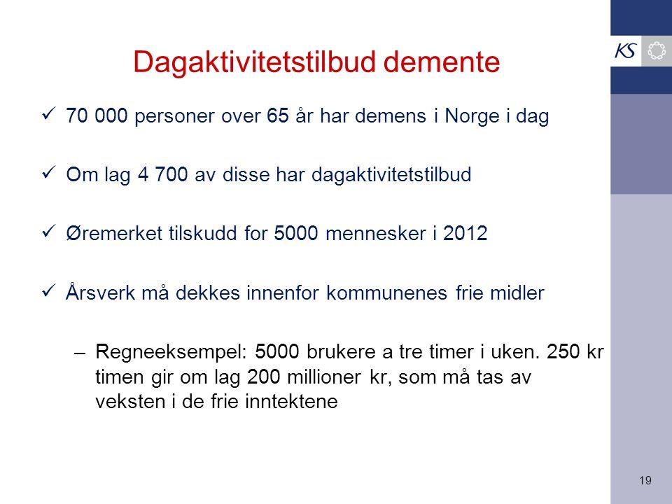 19 Dagaktivitetstilbud demente 70 000 personer over 65 år har demens i Norge i dag Om lag 4 700 av disse har dagaktivitetstilbud Øremerket tilskudd for 5000 mennesker i 2012 Årsverk må dekkes innenfor kommunenes frie midler –Regneeksempel: 5000 brukere a tre timer i uken.