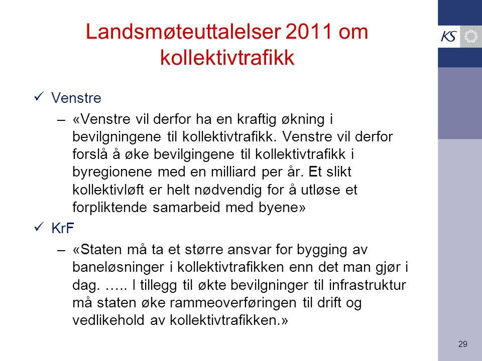 29 Landsmøteuttalelser 2011 om kollektivtrafikk Venstre –«Venstre vil derfor ha en kraftig økning i bevilgningene til kollektivtrafikk.