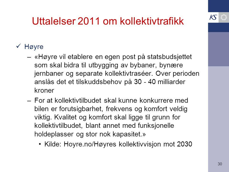 30 Høyre –«Høyre vil etablere en egen post på statsbudsjettet som skal bidra til utbygging av bybaner, bynære jernbaner og separate kollektivtraséer.