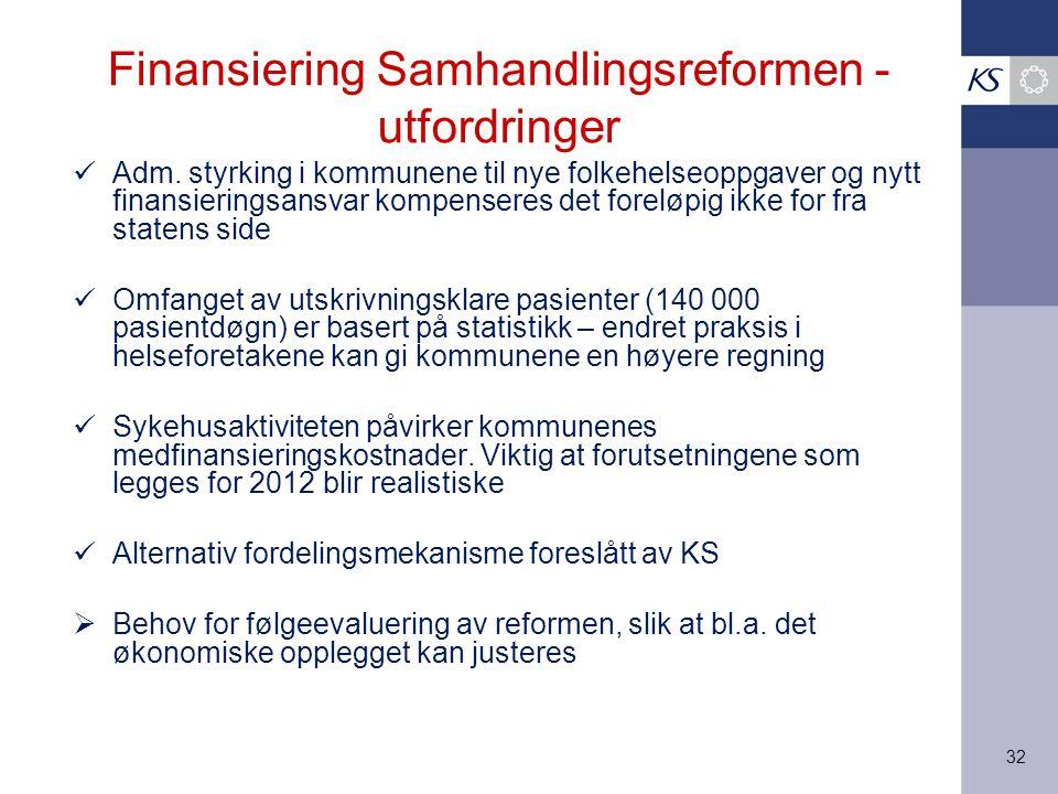 32 Finansiering Samhandlingsreformen - utfordringer Adm.
