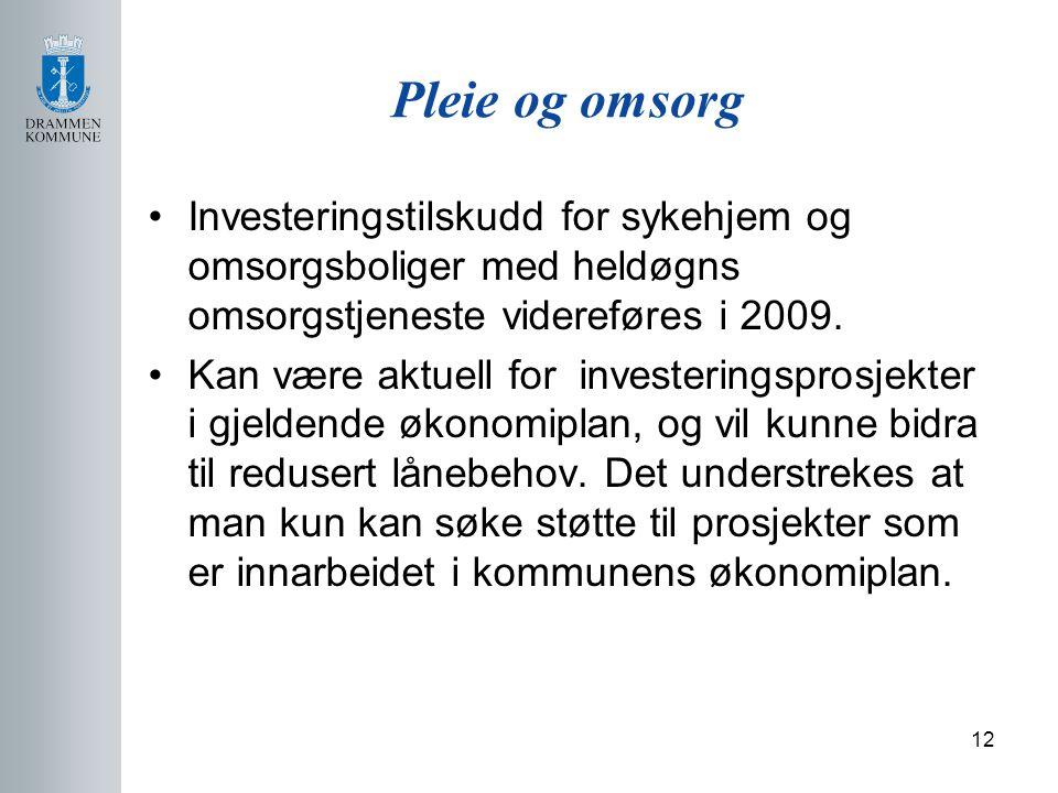 12 Pleie og omsorg Investeringstilskudd for sykehjem og omsorgsboliger med heldøgns omsorgstjeneste videreføres i 2009.