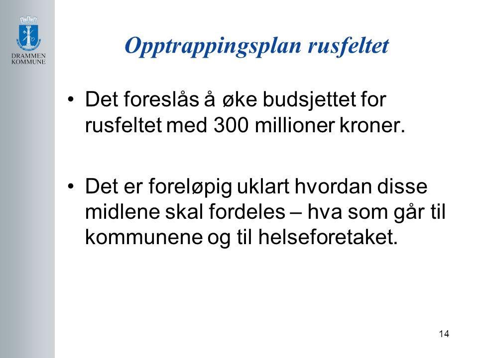 14 Opptrappingsplan rusfeltet Det foreslås å øke budsjettet for rusfeltet med 300 millioner kroner.
