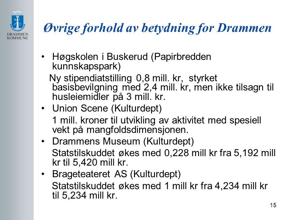 15 Øvrige forhold av betydning for Drammen Høgskolen i Buskerud (Papirbredden kunnskapspark) Ny stipendiatstilling 0,8 mill.