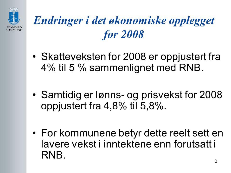 2 Endringer i det økonomiske opplegget for 2008 Skatteveksten for 2008 er oppjustert fra 4% til 5 % sammenlignet med RNB.