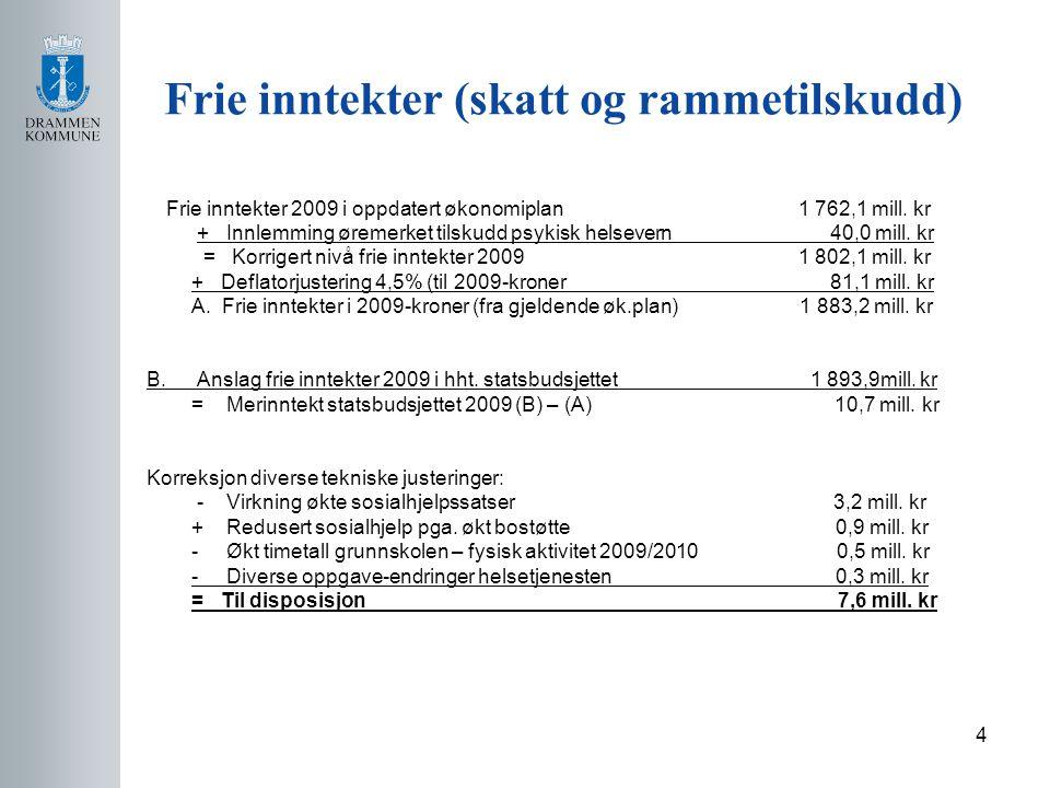 4 Frie inntekter (skatt og rammetilskudd) Frie inntekter 2009 i oppdatert økonomiplan 1 762,1 mill.