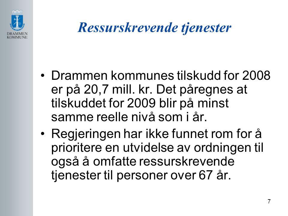 7 Ressurskrevende tjenester Drammen kommunes tilskudd for 2008 er på 20,7 mill.