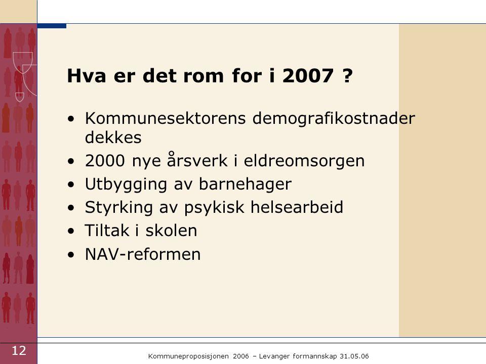 12 Kommuneproposisjonen 2006 – Levanger formannskap 31.05.06 Hva er det rom for i 2007 .