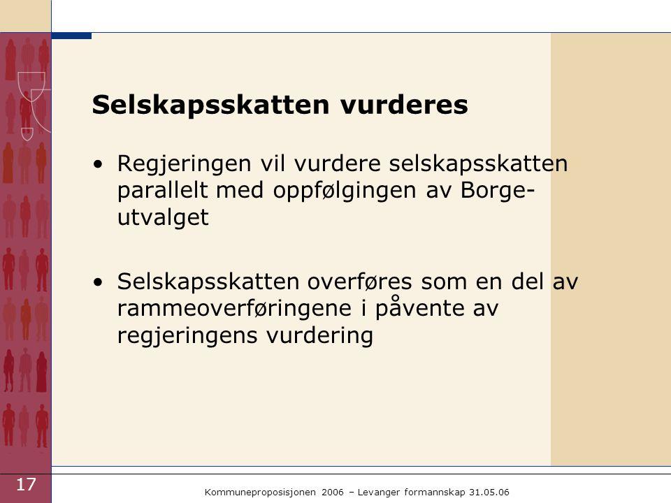 17 Kommuneproposisjonen 2006 – Levanger formannskap 31.05.06 Selskapsskatten vurderes Regjeringen vil vurdere selskapsskatten parallelt med oppfølgingen av Borge- utvalget Selskapsskatten overføres som en del av rammeoverføringene i påvente av regjeringens vurdering